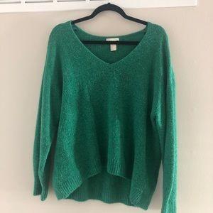 H&M oversized emerald green v-neck sweater size M